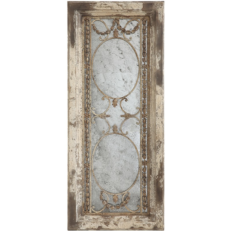 Pine Wood & Metal Framed Antiqued Mirror Heavily Distressed Finish