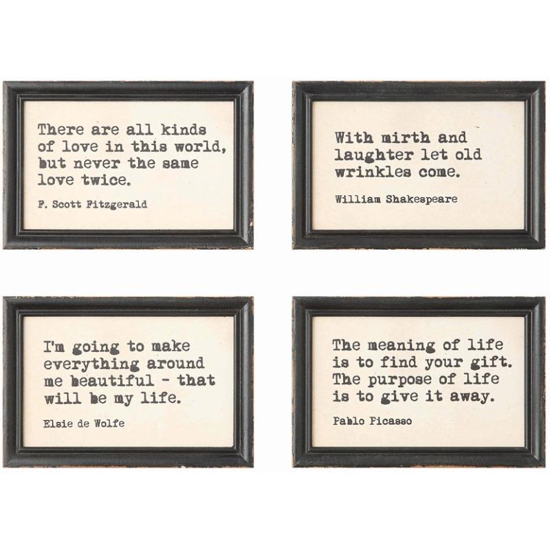 Wood Framed Wall Dcor w/ Saying 4 Styles