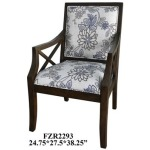 Sylvia Floral Linen Pattern Accent Chair W/ Heritage Birch Finish