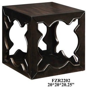 Vanderbilt Open Sides Square End Table In Walnut Finish