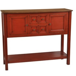 Brayden 2 Drawer / 2 Door Persimmon Cupboard With Wood Top