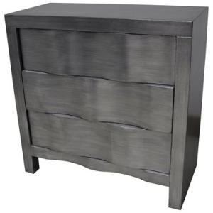 Baxter 3 Drawer Brushed Silver Hidden Handle Chest
