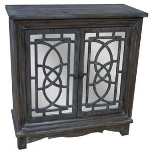 Ridgeway Dark Rustic Wood 2 Patterned Mirrored Door Cabinet