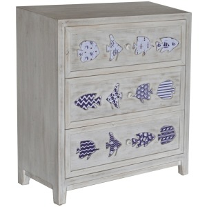 Hatteras White Wash 3 Drawer Laser Cut Fish Blue Pattern Chest