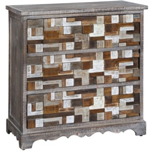 Ellis 3 Drawer Multi-Colored Raised Block White Chest