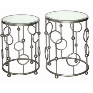 Halcyon Brushed Metallic Silver Circles And Mirror Accent Tables
