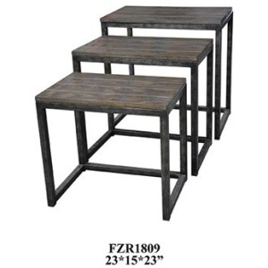 Trail Ridge Aged Metal And Burnished Oak Set Of Nested Tables