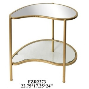 Athena Gold Kidney Shaped Accent Table
