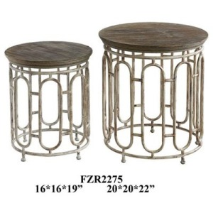 Allyson Textured Metal And Wood Set Of Tables