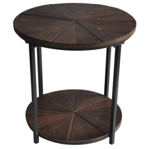 Jackson Round Metal And Rustic Wood End Table