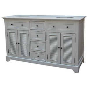 Cottage White 4 Louvered Doors / 4 Drawers 60\