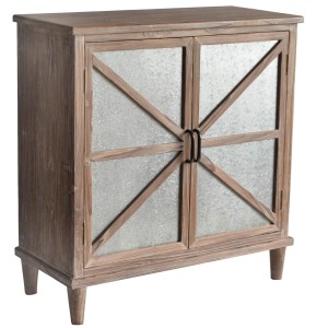 Newhart Rustic Wood and Galvanized Metal 2 Door Cabinet