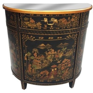 Rose Tradtional Chinoiserie Single Door Demi-lune Chest