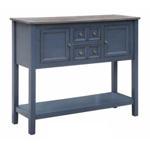 Hayden 2 Drawer / 2 Door Mystique Blue Cupboard With Grey Wood Top