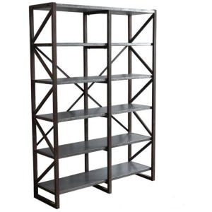 Newhart Rustic Wood and Galvanized Metal Bookshelf