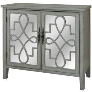 Isabelle 2 Door Grey And Mirrored Cabinet