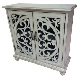 Elizabeth 2 Door White Wash Open Fretwork Cabinet