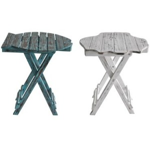 Nantucket White Shell And Blue Fish Set Of Tables