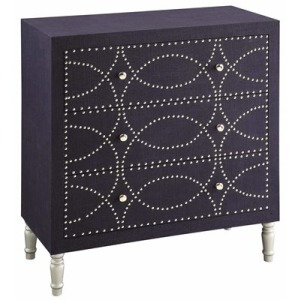Cobalt Blue Fabric And Chrome Nailhead 3 Drawer Chest