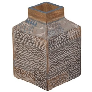 Taos Small Carved Square Vase
