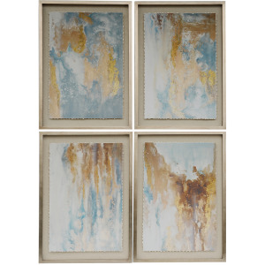 Abstract Prints w/Solid Wood Frame - Set of 4