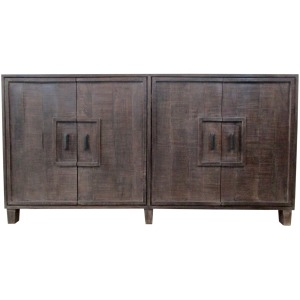 Bengal Manor Mango Wood 4 Door Frame Detail Rough Hewn Sideboard