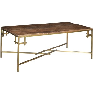 Bengal Manor Mango Wood Rectangle Cocktail Table With Iron Square Corner Aged Gold Finish