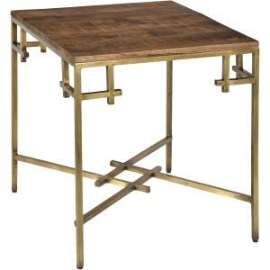 Bengal Manor Mango Wood Square End Table With Iron Square Corner Aged Gold Finish
