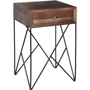 Bengal Manor Acacia Wood And Metal 1 Drawer Accent Table