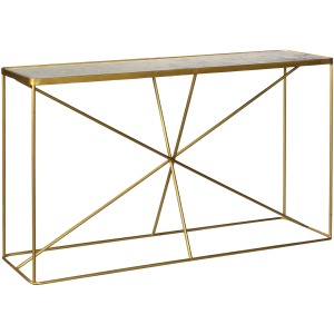 Bengal Manor Antique Gold Iron And Marble Console Table