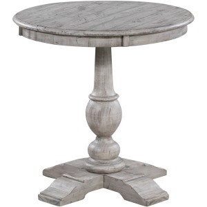 Pembroke Plantation Recycled Pine White Wash Round Accent Table