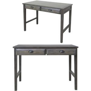 Hawthorne Estate Grey Wash Pine 2 Drawer Accent Desk With Usb Power