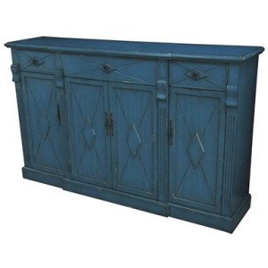 Everett 3 Drawer / 4 Door Breakfront Royal Blue Sideboard