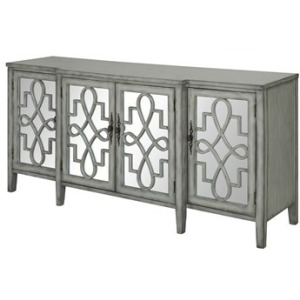Isabelle 4 Door Breakfront Grey And Mirrored Sideboard