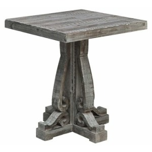 Overton Distressed Grey Carved Leg End Table