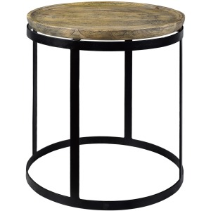 Bengal Manor Mango Wood & Metal Round End Table