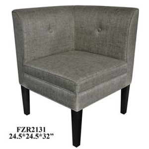Abbott Button Tufted Corner Linen Chair