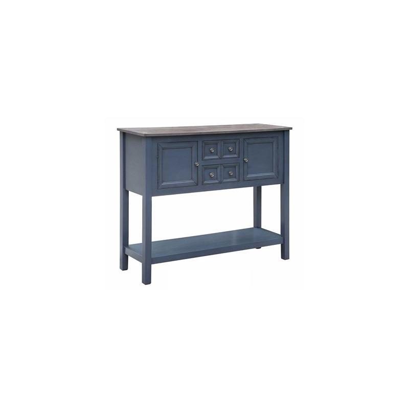 Hayden 2 Drawer / 2 Door Mystique Blue Cupboard With Grey Wood Top