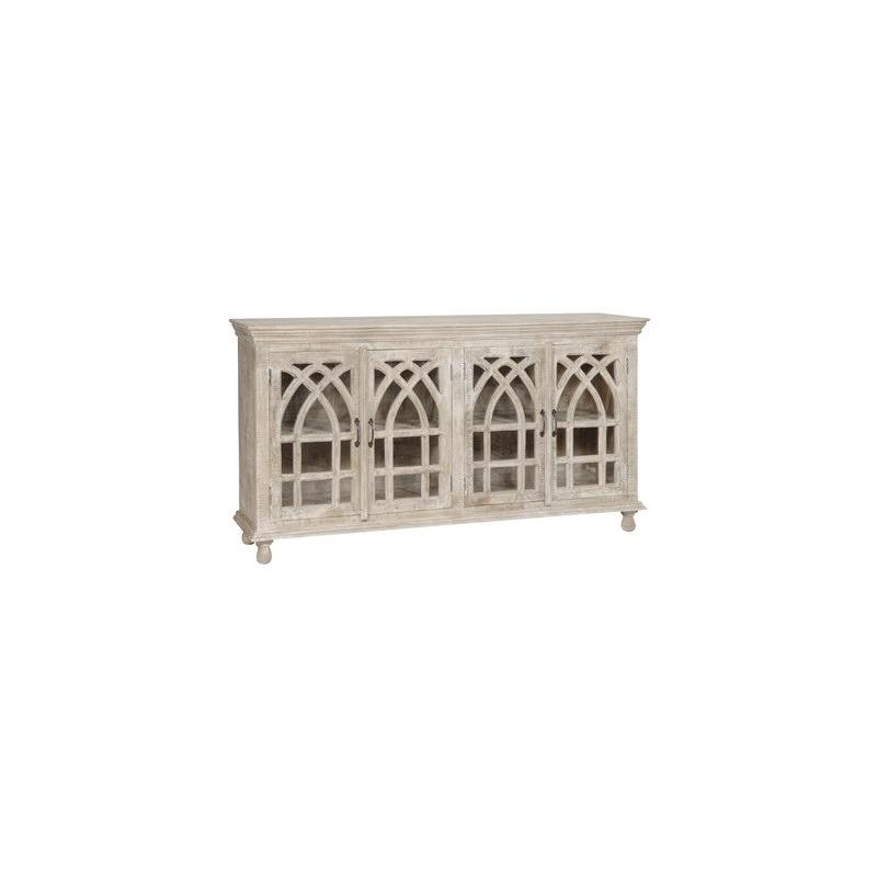Bengal Manor Light Mango Wood Cathedral Design 4 Door Sideboard