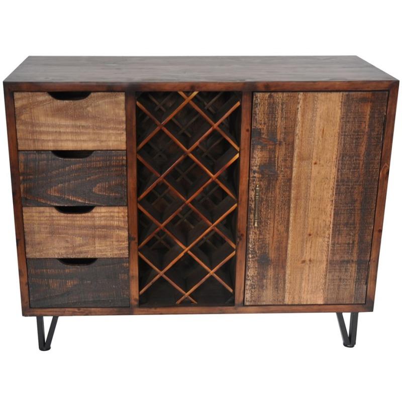 Sturtevant 4 Drawer / 1 Door Clean Rustic Wine Cabinet