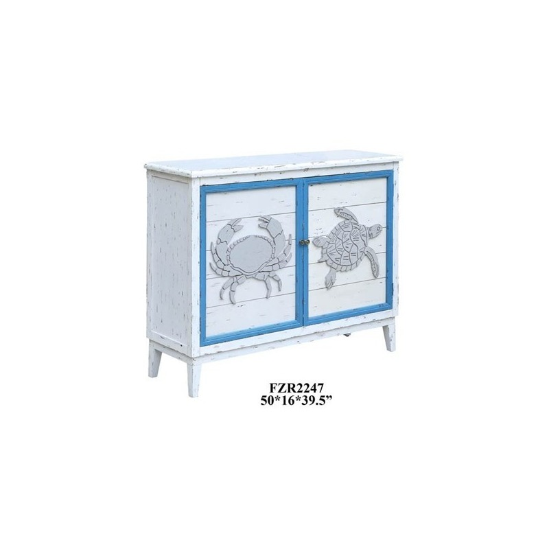 Block Island Whitewash 2 Door Crab And Turtle Cabinet By Crestview Collection Nis971997707 Northpoint Furniture Mattress
