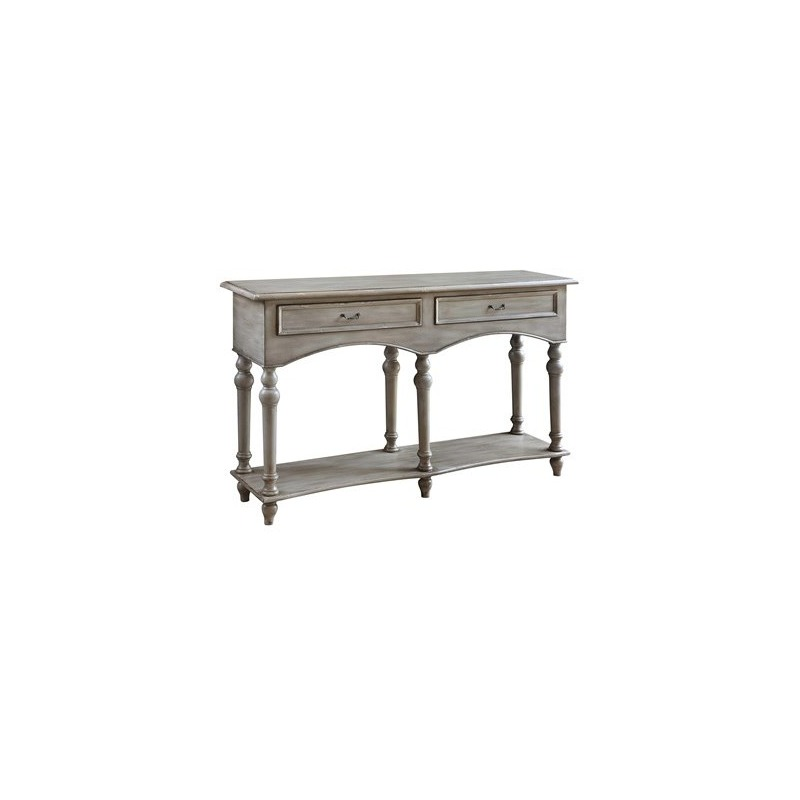 Chelsea Antiqued Grey 2 Drawer Shaped Console