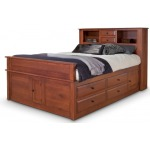 Simplicity Queen Captain's Bed w/ Bookcase Headboard and Low Footboard - Piece