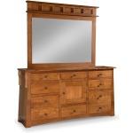 Arts & Crafts 8-Drawer 1-Door Triple Dresser with Tall Wide Mirror