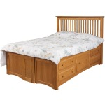 Simplicity Queen Pedestal Bed w/10 Drawers (5 per side)