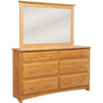 Simplicity 6-Drawer Double Dresser with Tall Wide Mirror