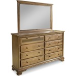 Classic 8-Drawer Double Dresser w/ Tall Wide Mirror & Media Drawer