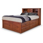 Simplicity Queen Captain's Bed w/ Bookcase Headboard and Low Footboard