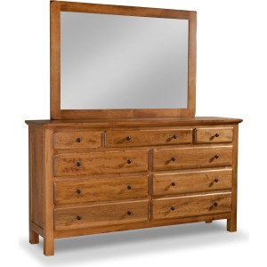 Lewiston 9-Drawer Double Dresser W/ Tall Wide Mirror