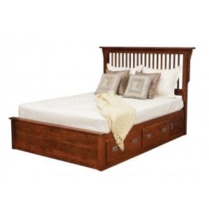 Lewiston King Slat Bed with Storage Drawers